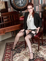 Mistique showing her long legs in black ff nylons and hairy haven in a super vintage corselette!