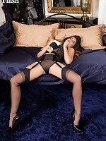 Briony in vintage longline bra and garter belt, twisting and turning in sexy poses!