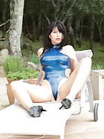 Desyra Noir in a nice blue outfit