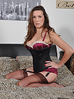 Gorgeous Jane is showing off her new matching lingerie and gorgeous nylon stockings.