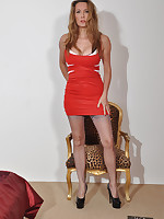 Gorgeous Jane is wearing a tight red dress and some beautiful stockings.