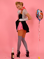 Heavenly blonde Hayley-Marie Coppin in knee-socks and baby doll skirt delivers a perfect striptease at a party